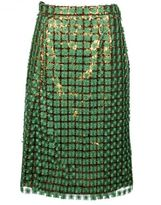 Marco De Vincenzo Sequin And Floral Embroidery Skirt