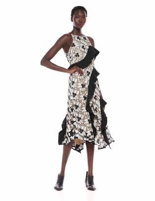 Keepsake Women's Break Free Sleeveless Multi LACE Ruffle MIDI Dress