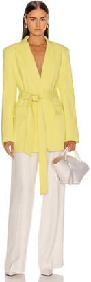 Tibi Oversized Tuxedo Blazer Jacket in Acid Yellow | FWRD