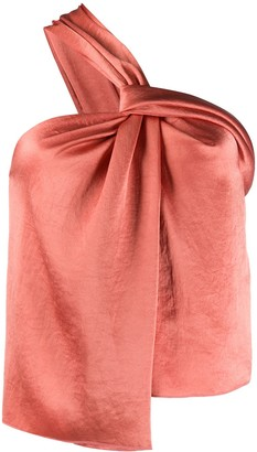 Nanushka Satin One-Shoulder Blouse
