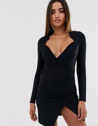 ASOS DESIGN tux wrap bandage mini dress