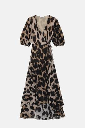 Ganni Printed Mesh Wrap Dress In Maxi Leopard - 34