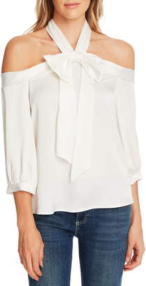 CeCe Halter Neck Cold Shoulder Blouse