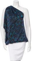 Lanvin Silk Printed One-Shoulder Top
