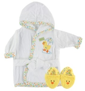 Luvable Friends Bath Robe with Slippers, 0-9 Months