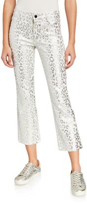 J Brand Selena Mid-Rise Cropped Boot-Cut Corduroy Jeans, Moonbeam