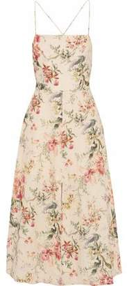 Zimmermann Floral-print Linen And Cotton-blend Midi Dress