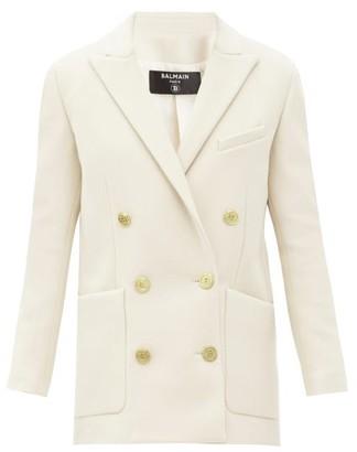 Balmain Double-breasted Brushed Wool-blend Jacket - Beige