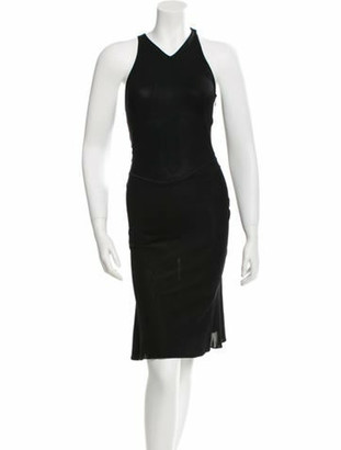 Alaia Sleeveless Fit And Flare Dress Black