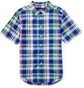 Ralph Lauren Short-Sleeve Madras Plaid Shirt, Blue/Green, Size 5-7