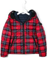 Ai Riders On The Storm Kids tartan padded jacket