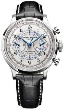 Baume & Mercier Capeland 10006 Flyback Stainless Steel& Alligator Strap Chronograph Watch