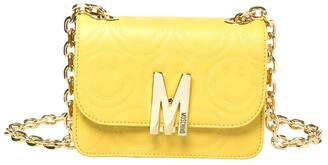 Moschino M Smiley Face Quilted Leather Shoulder Bag