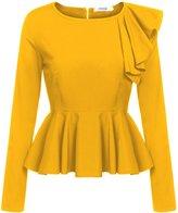 Meaneor Women's Ruffles Peplum Long Sleeve Dressy Blouse Tops