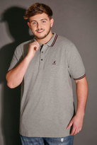 Yours Clothing KANGOL Grey & Burgundy Short Sleeved Polo Shirt
