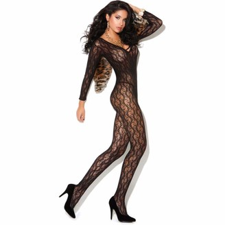 Elegant Moments Women's Long Sleeve Lace Body Stocking with Open Crotch