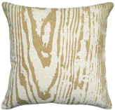 123 Creations Faux Bois Printed Linen Pillow With Feather-Down Insert, Mustard