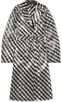 Dries Van Noten Striped Organza Trench Coat - Black