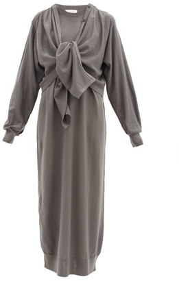 Lemaire Layered Wool-blend Cardigan Dress - Dark Grey