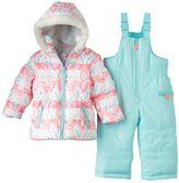 Carter's Girls 4-8 Floral Puffer Jacket & Solid Bib Snow Pants Snowsuit Set