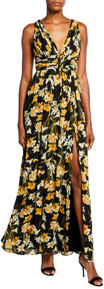 Aidan Mattox Floral Print Sleeveless Maxi Dress with Front Slit