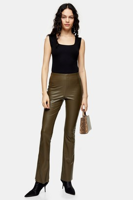 Topshop Womens Khaki Faux Leather Flare Trousers - Khaki