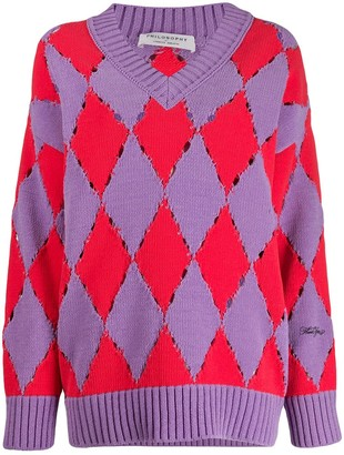 Philosophy di Lorenzo Serafini Distressed Argyle Sweater
