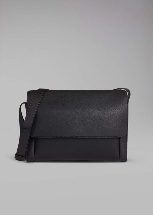 Giorgio Armani Grainy Leather Messenger Bag
