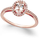Macy's Morganite (5/8 ct. t.w.) and Diamond (1/6 ct. t.w.) Ring in 14k Rose Gold