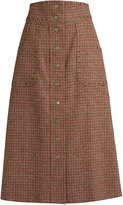 RED Valentino Eyelet-embellished wool-tweed A-line skirt
