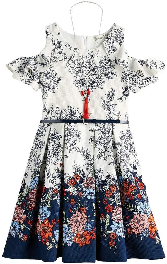 Knitworks Girls 7-16 Cold Shoulder Skater Dress, Belt & Necklace Set