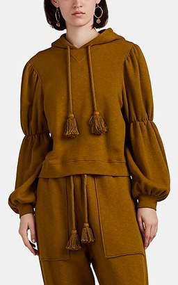 Ulla Johnson Women's Sacha Terry Crop Puff-Sleeve Hoodie - Olive
