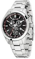 Sector No Limits 180 Men's Quartz Watch with Black Dial Chronograph Display and Silver Stainless Steel Strap R3273690008