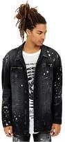True Religion Mens Distressed Paint Splatter Turner Denim Jacket