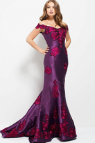 Jovani 50186 Off Shoulder Floral Embroidered Mermaid Gown