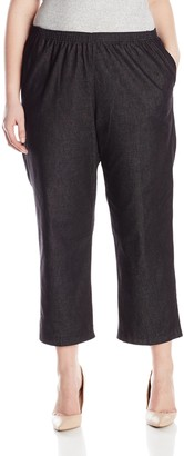 Alfred Dunner Women's Plus-Size Black Denim Proportioned Short Pant