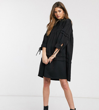 Vero Moda Tall smock dress with high neck in black