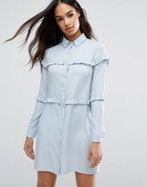 Boohoo Micro Ruffle Shirt Dress