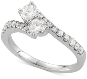 Two Souls, One Love Diamond Two-Stone Twist Ring (7/8 ct. t.w.) in 14k White Gold