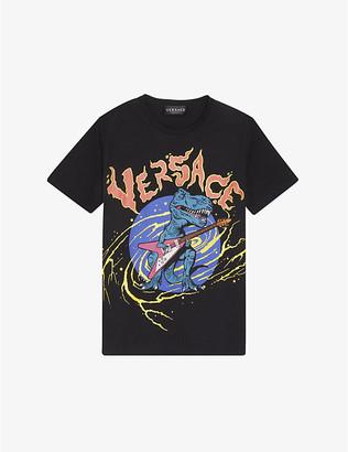 Versace Dinosaur-print branded cotton T-shirt 6-14 years