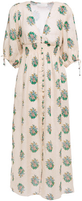 Zimmermann Verity Shirred Floral-print Linen Midi Dress