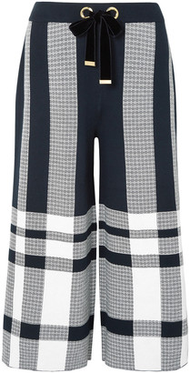 Mother of Pearl Kory Checked Cotton-jacquard Culottes