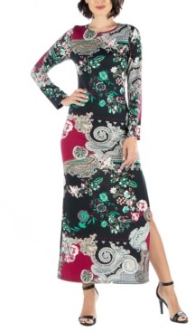 24seven Comfort Apparel Women's Paisley Long Sleeve Fitted Maxi Dress