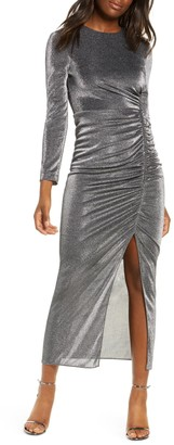 Vince Camuto Long Sleeve Ruched Metallic Midi Dress