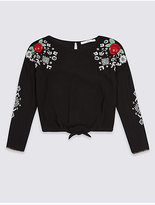 Marks and Spencer Embroidered Tie Blouse (3-13 Years)