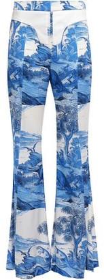 Ellery Twill-trimmed Printed Silk-blend Flared Pants
