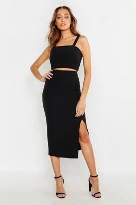 boohoo Woven Crop Top & Midi Skirt Co-ord