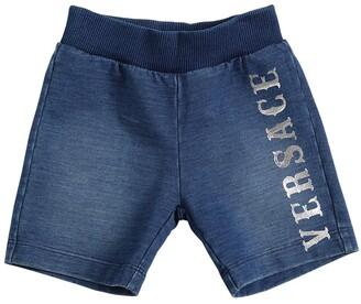 Versace Logo Print Denim Effect Shorts