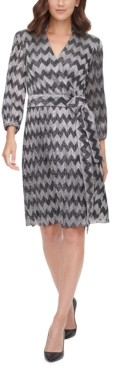 Jessica Howard Zigzag-Print Tie-Waist A-Line Dress