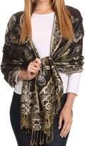 Sakkas 16126 - Liua Long Wide Woven Patterned Design Multi Colo Pashmina Shawl / Scarf - OS